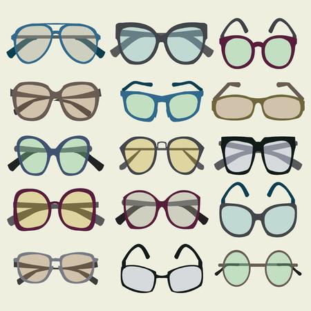 eyewear fashion: Vector fashion  Set icon of colored  Sunglasses in a retro style - Illustration