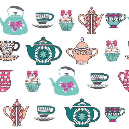 teatime: Vector Background of Tea Time ,Tea cups, pots  and  Cupcake hand drawn .Pattern Collection with a tea pot, tea cup, jars, cupcake In vintage style.