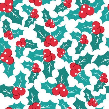 holly day: Vector Christmas pattern with holly berries seamless  background - Illustration