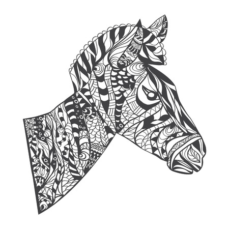 zebra head: Vector zentangle style Zebra Head illustration, Horse print for adult anti stress coloring page, coloring book,tattoo,t shirt design,logo Illustration