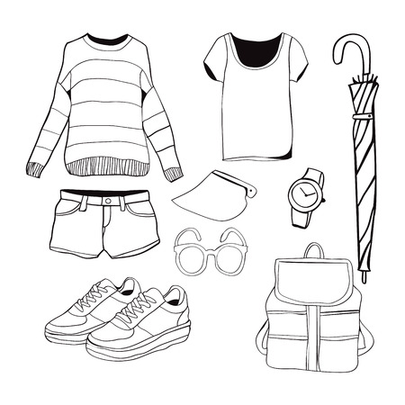 girl wearing glasses: A set of summer outfit collection. Vector of hand drawn fashion clothes and accessories illustration