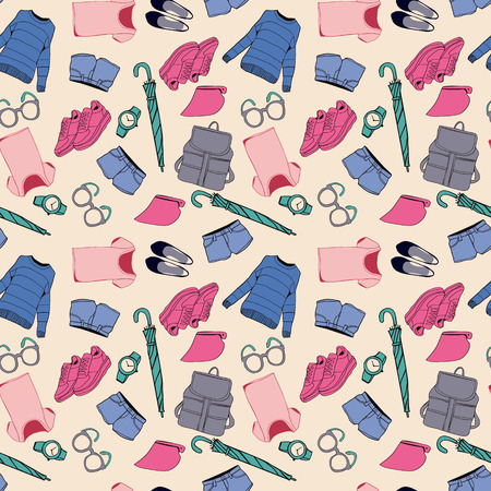 girl wearing glasses: Background of summer outfit collection. Vector of hand drawn fashion clothes and accessories pattern illustration