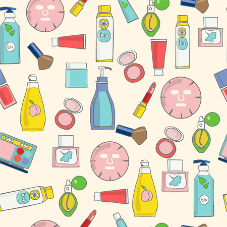 cosmetic product: Vector pattern of Make-Up, beauty and healthy cosmetic product sketch style  background - Illustration Illustration
