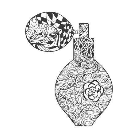 bootle: Perfume with decorative ornament. Vector perfume bootle with Zen-doodle or Zen-tangle pattern in white background for decorate package perfume cosmetic or creative Post Card