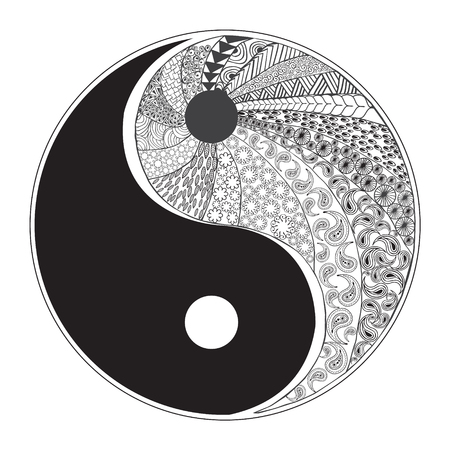 yang style: Yin and yang decorative symbol. Hand drawn zentangle style design element. Vector illustration for  coloring, logos, t-shirts, websites  t-shirt print isolated on white background Illustration