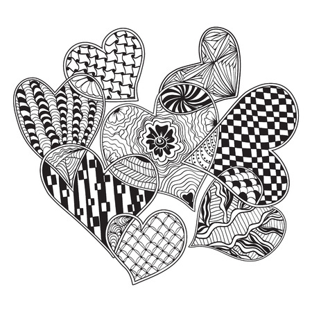 Vector pattern of hearts ornate zentangle style decorative symbol. Hand drawn style design element. Vector illustration for  coloring book, logos, t-shirts, websites print isolated on white background
