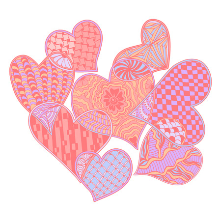 Vector Pattern Of Hearts Ornate Zentangle Style Decorative Symbol Hand Drawn Design Element