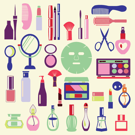 Vector Icon Set ofCosmetics, Make Up and Beauty objects Symbols in flat style- Illustration Ilustração Vetorial