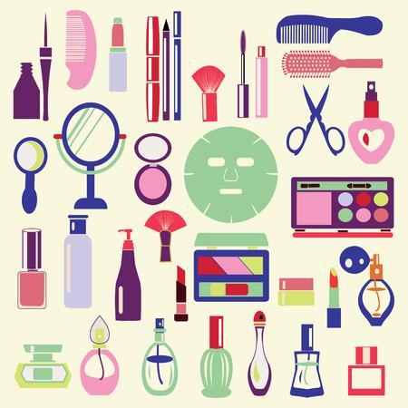 Vector Icon Set ofCosmetics, make up e oggetti di bellezza Simboli nel piatto Illustrazione stile- Vettoriali