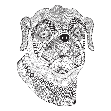 Bulldog portrait. Hand drawn stylized dog with ethnic floral doodle pattern sketch pattern. Coloring book page, shirt print, tattoo. Isolated black on white background