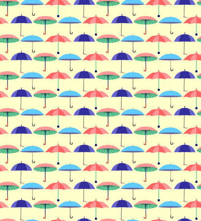 Joli modèle sans couture avec un ensemble de parapluies plats texturés