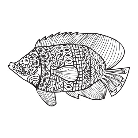 Fish style design for coloring book for adult, tattoo, T shirt design, element -illustration