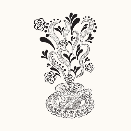 black coffee: coffee or herbal tea cup with abstract ornaments. Cup Hand drawn illustration for coloring book for adult doodle style. Illustration