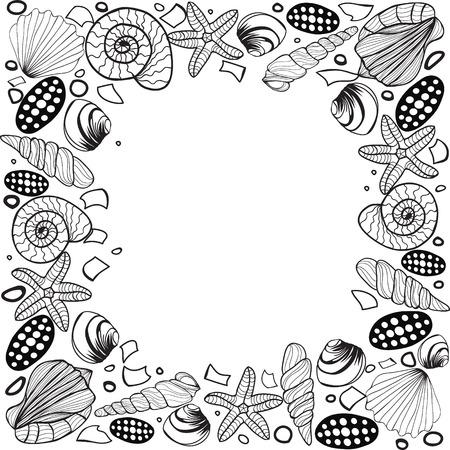 label frame: Hand drawn Seashell border frame Vector vintage illustration. Coloring book page for adult. Pattern for restaurant menu card, ticket, branding,label , shirt design