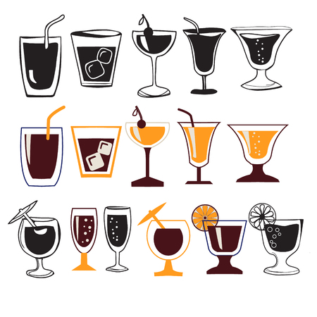 champagne orange: Vector icon set of different glasses for different drinks, hand drawn illustration.