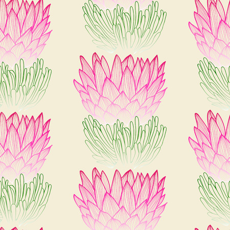 ornamental garden: Floral seamless pattern. Tropical protea flower background. Floral tile ornamental texture with flowers. Spring flourish garden