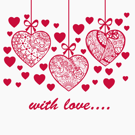 Romantic Valentine Day Hand Drawn Background With Ornamental Doodle Textured Hearts Can Be Use As