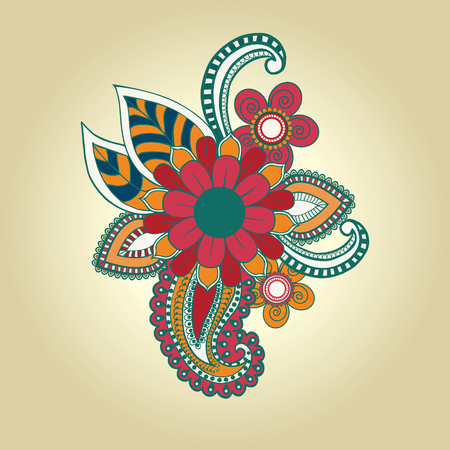 mendie: vector hand draw henna floral design element tattoo design ornate decorations. Vector abstract floral elements in indian mehndi style.