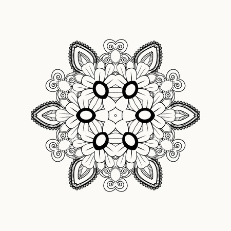 Black And White Abstract Pattern With Leaves Flowers Doodle Hand Drawn Zentagles Coloring Book Mandala