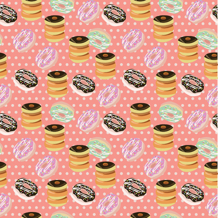 glazing: Seamless background with a pattern of donuts with chocolate. Cute Donuts with colorful glazing Illustration