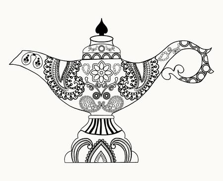 Alladin Magic Lamp line art design for coloring book for adult