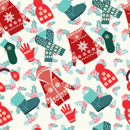 cardigan: Flat collection of winter clothes and accessories  background Illustration
