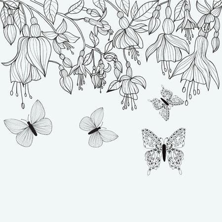 flores fucsia: diseño de página para colorear en línea atractiva. Mano dibujado con textura de flores fucsia y mariposas. Dibujado a mano monocromo Vectores