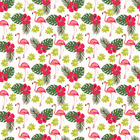 exotic birds: Tropical seamless pattern with flamingo and palm leaves, exotic birds and flowers.
