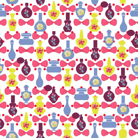 stage makeup: pattern of bows and perfume bottles -  Illustration. Seamless retro style repeating background.