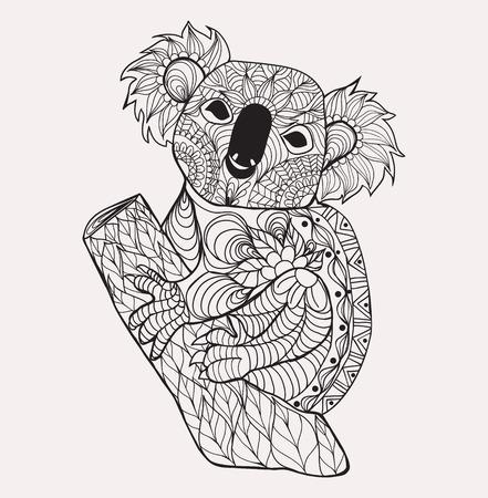 Coala. Dibujado A Mano Blanco Negro Doodle Animal Para Colorear La ...