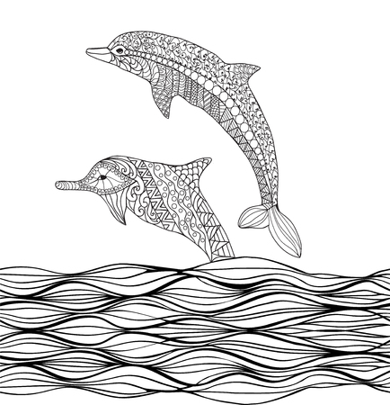 Hand drawn dolphins with scrolling sea wave for coloring book for adult