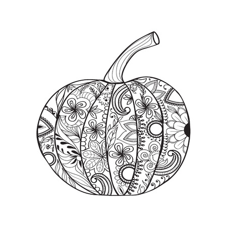 Pumpkin for Thanksgiving day, Halloween. Hand drawn sketch for adult anti stress coloring page with doodle elements. Illustration