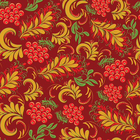 traditional pattern: Floral seamless pattern in traditional russian style Hohloma traditional ornaments