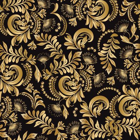 hohloma: Floral seamless pattern decorative style Hohloma gold ornament on black background