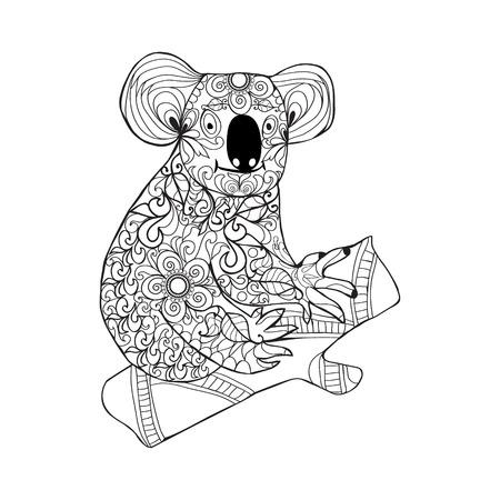 Coala. Negro Mano Blanca Dibujada Animales Del Doodle De Página Para ...