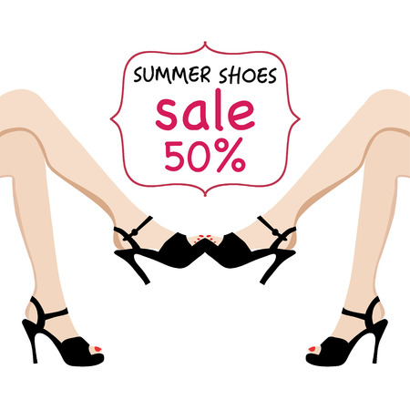 woman legs: Vector illustration of woman legs in black fashion shoes sale banner. Hand-drawn  illustrations, Spring-summer fashion collection.