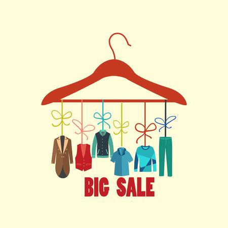 fashion boutique: Vector Background of Hanger with fashion men Fashion boutique. Big sale collection of man wardrobe- Illustration