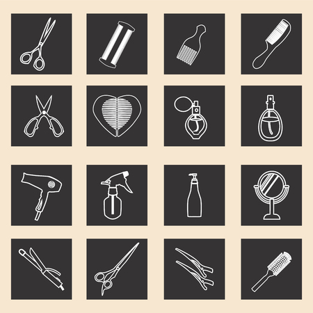 haircutting: vector icon set of haircutting tool icons  outlined  Barbershop objects-illustration