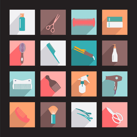 haircutting: haircutting tool Flat icons  Beauty salon  icon set. Hairdresser styling accessories. Illustration