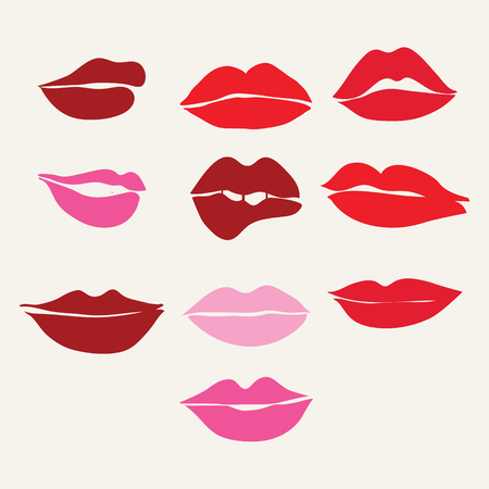 lips close up: Different womens lips vector icon set . Red lips close up girls..Collection of womens mouths and  lips symbol.