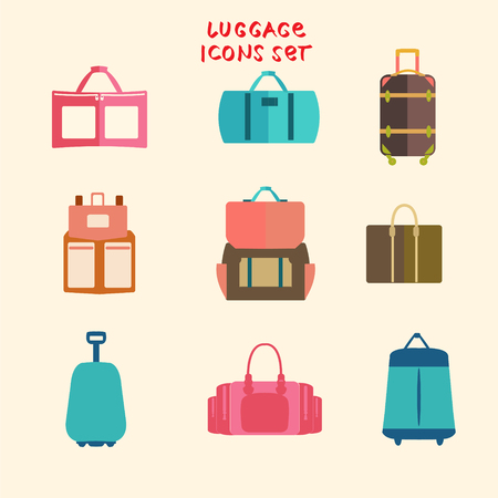 personal accessory: Vector Baggage theme icons. Collection of Travel bags set of flat design Illustration