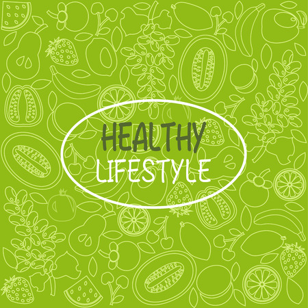 vector background healthy food poster or banner with hand drawn fruits on green backdrop. Illustration