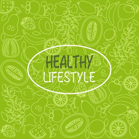 Vektor Hintergrund gesunde Lebensmittel Poster oder Banner mit Hand gezeichnet Früchte auf grünem Hintergrund.