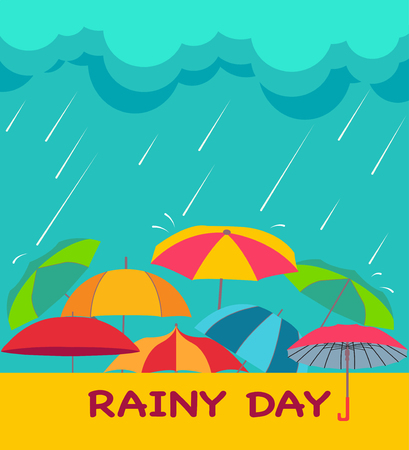 Rainy season background with clouds, raindrops and umbrellas, creative vector abstract for Rainy Day theme.