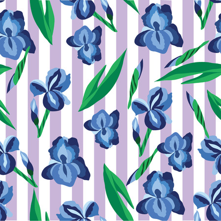 striped background: Seamless floral pattern with irises on the striped background illustration.
