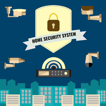 panoramic view: Home security cctv cam system flat design set of new camera technology for panoramic view.