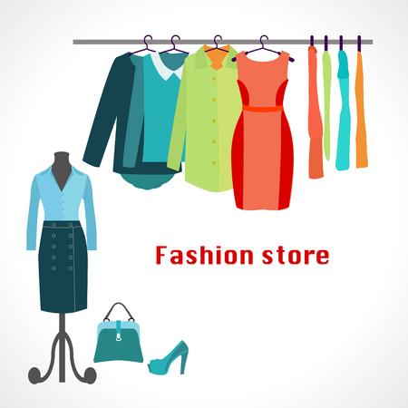 Bekleidungsgeschäft. Boutique Indoor-Modehaus. Flaches Design Vektor-Illustration. Kleidung auf Bügeln.