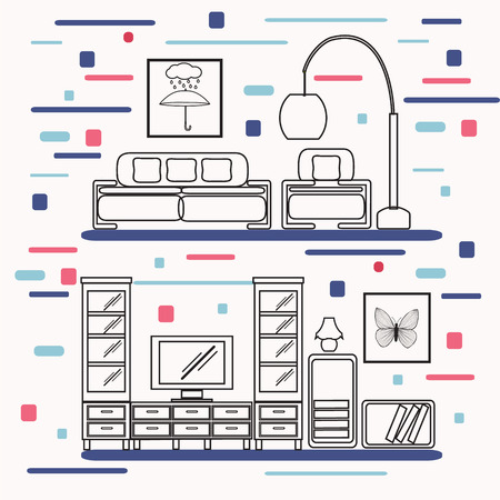 living room tv: Living room with furniture linear Flat style vector illustration. Cozy interior with sofa, Bookshelf, armchair and tv.  Furniture elements line art trendy style . Illustration