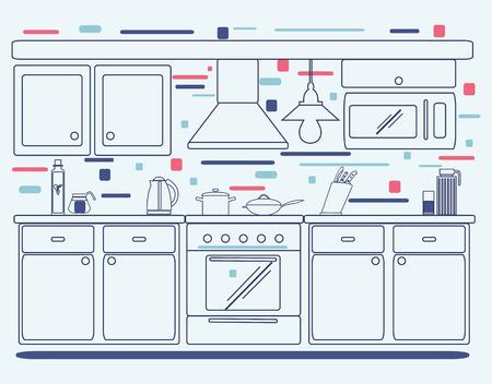 modern kitchen: Linear flat interior design illustration of modern designer kitchen interior.  Outline  graphic symbols for kitchen design. Illustration