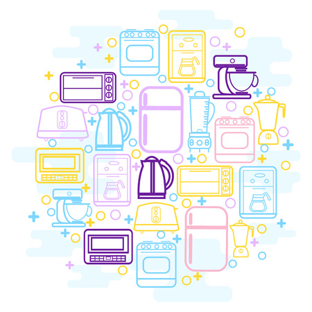 household goods: Line icons set with flat design elements of household goods, home appliance. Home Kitchen appliances icons